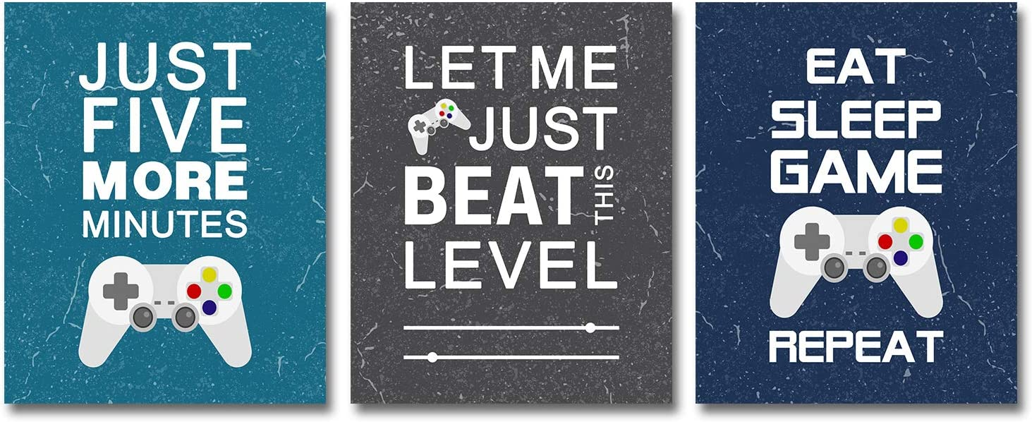 Video Game Art Print, Room Decorations for Bedroom, Gaming Wall Art for Kids Boy Playroom Home Decor, Boy Room Decor, Gaming Posters (Set of 3, 8X10in, Unframed)