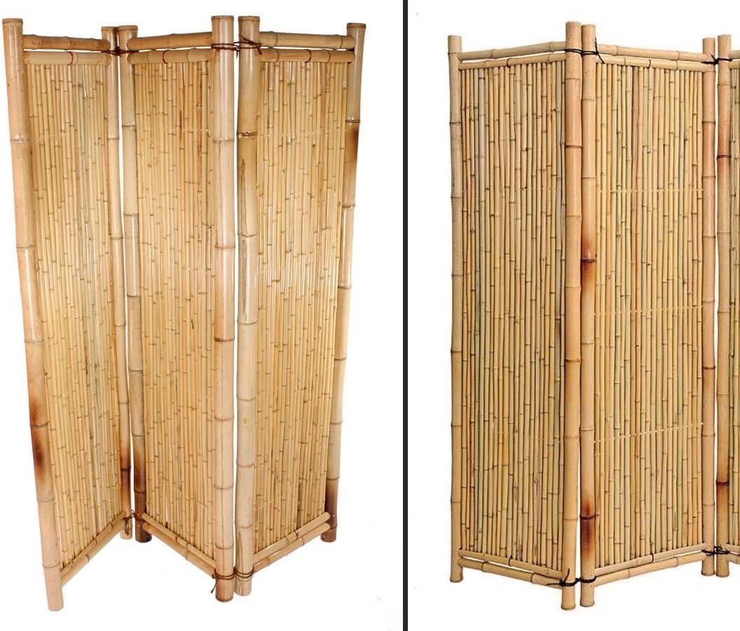 bambus-discount.com Biombo de bambú de Color Amarillo, 180 x 180 cm, 3 Partes – raumtrenner Sirve móvil paraviento: Amazon.es: Jardín