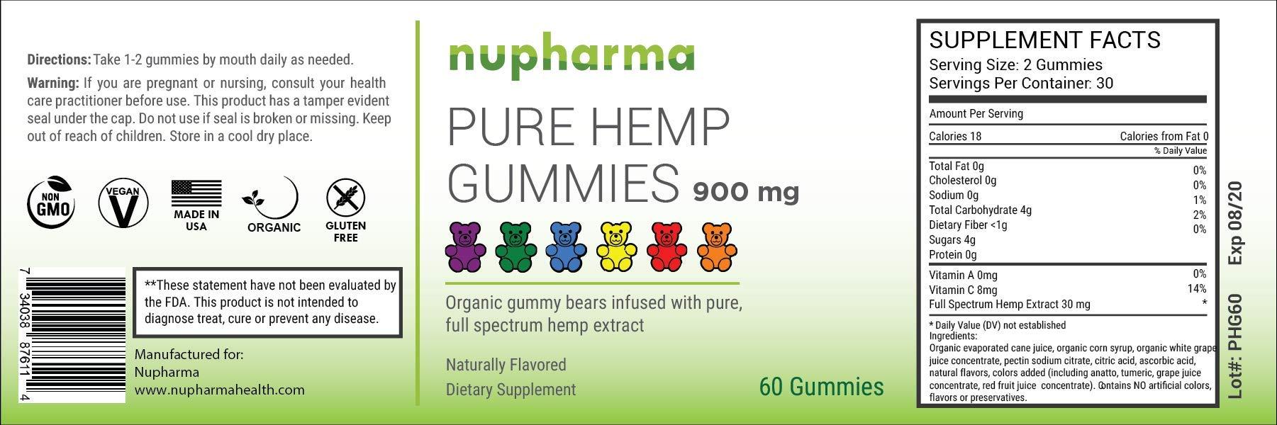 Pure Hemp Gummies - 15mg per Gummy - Organic Full Spectrum Hemp Extract- Hemp Oil Gummy Bears (60 Count)