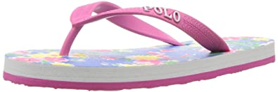 d31a21a0d04a Polo Ralph Lauren Kids Girls  Hailey Flip Flop Blush Pink Blu Multi Floral 5