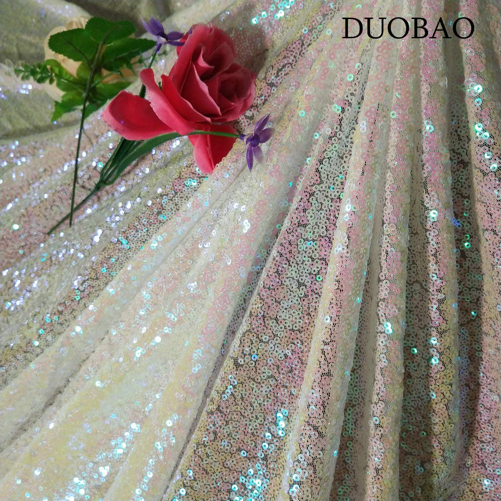 DUOBAO Sequin Fabric for Sewing Glitter Backdrop Iridescent 10 Yards Sequin Material Fabric 2 Way Stretch Sequin Fabric by The Yard