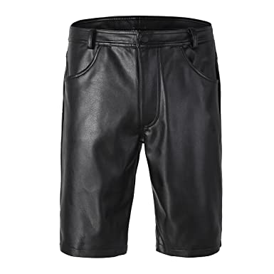 CHICTRY Herren Bermudas Shorts Wetlook Kurze Hose Ultrabequem Lack-Optik  Pants Ledershorts Lederhose Schwarz  Amazon.de  Bekleidung eb54618d25