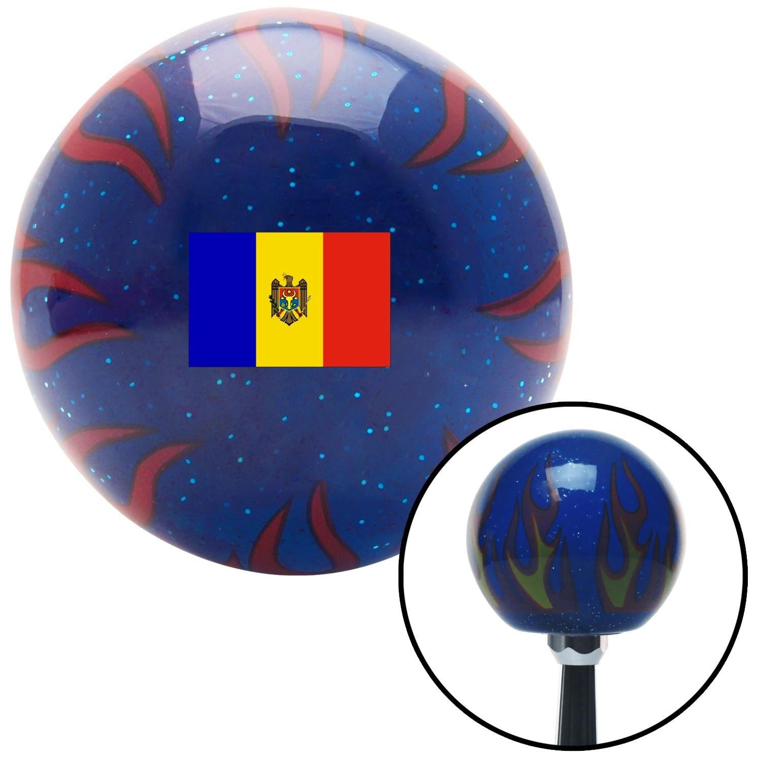 American Shifter 310493 Shift Knob Moldova Blue Flame Metal Flake with M16 x 1.5 Insert