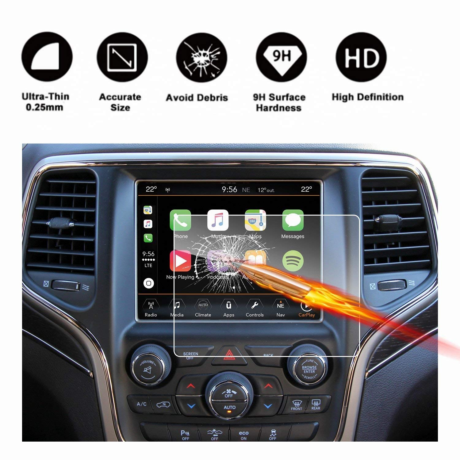 2014-2018 Jeep Grand Cherokee Uconnect Touch Screen Car Display Navigation Screen Protector, RUIYA HD Clear Tempered Glass Car in-Dash Screen Protective Film (8.4-Inch)