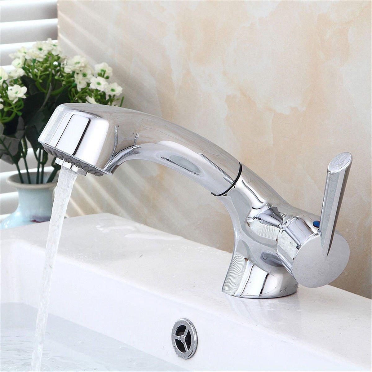 LHbox Basin Mixer Tap Bathroom Sink Faucet The modern all-copper pull basin faucet bathroom sink basin mixer bathroom-cold water woman wash water under the bathroom sink basin Faucet