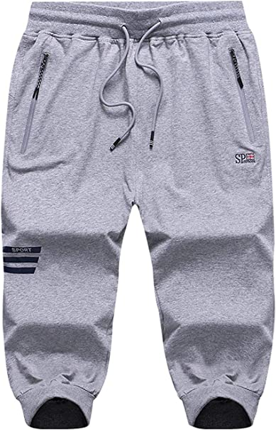 Men/'s Sports 3//4 Pants Athletic Basketball Jogger Running Slim Fit Plain Cropped