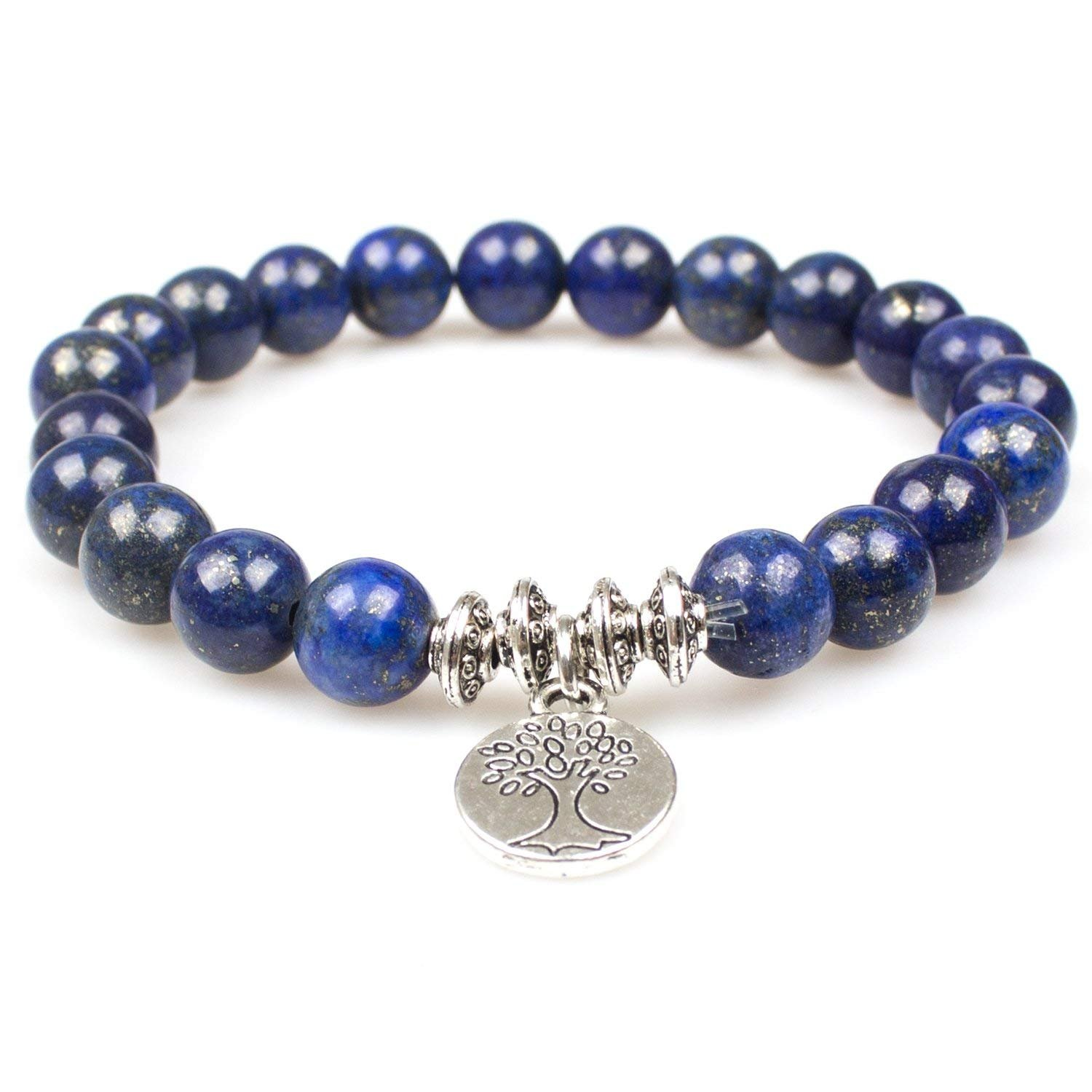 Women Bracelets,Handmade Lapis Lazuli Gem Semi Precious Gemstone 8mm Round Beads Stretch Women Bracelet(Lapis Lazuli Tree) PWMEN SL-012-NEW