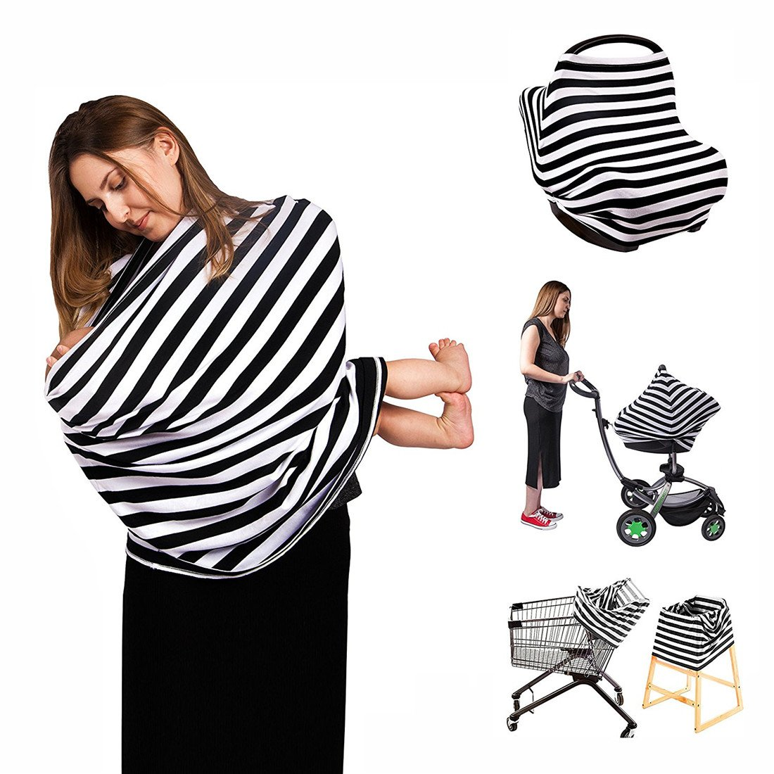Neufashion Baby Car Seat Canopy Nursing Cover Scarf Baby Stroller Sunshade Multi Use Stretchy Cover for Breast Feeding Gift for Boys Girls