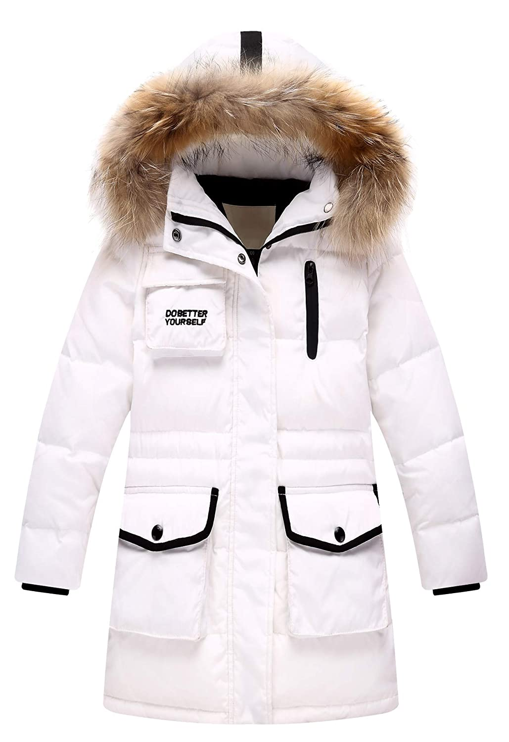 jiayou Child Girl Solid Hooded Thick Winter Mid Long Duck Down Overcoat with Fur Trim USVR020