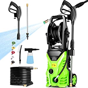 Homdox Pressure Washer 2950 PSI Power Washer Cleaner 1800W 1.7GPMwith Power Hose Gun Turbo Wand Electric Pressure Washer High Power Washer Cleaner Machine with 5 Nozzle