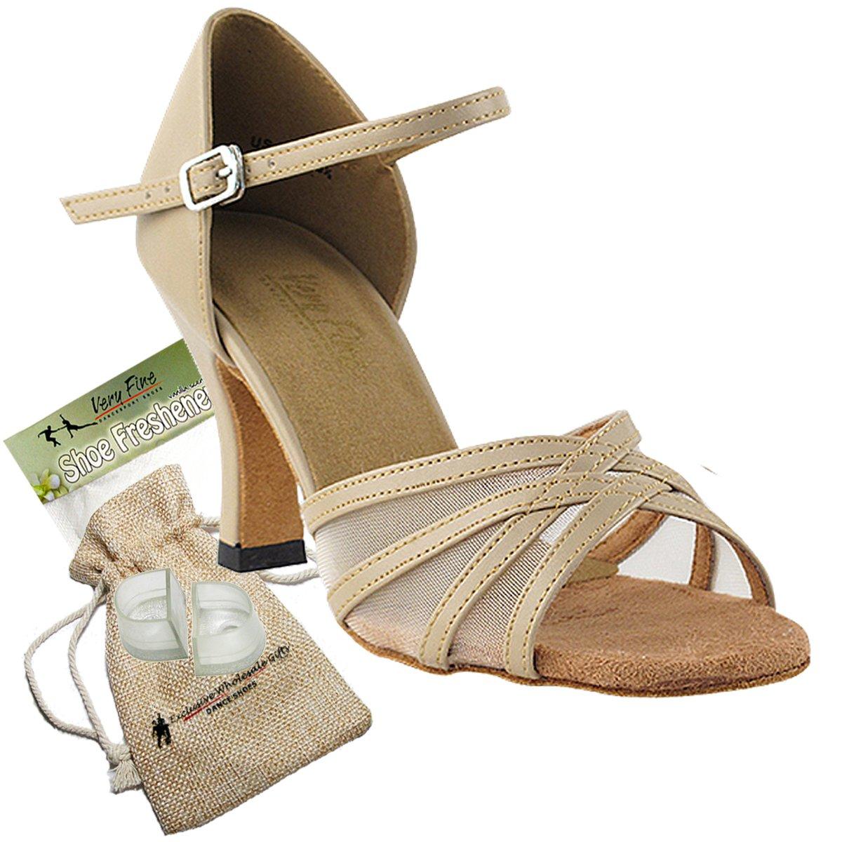 Women's Ballroom Dance Shoes Tango Wedding Salsa Dance Shoes Tan Leather & Flesh Mesh 6027EB Comfortable - Very Fine 2.5'' Heel 7.5 M US [Bundle 5]