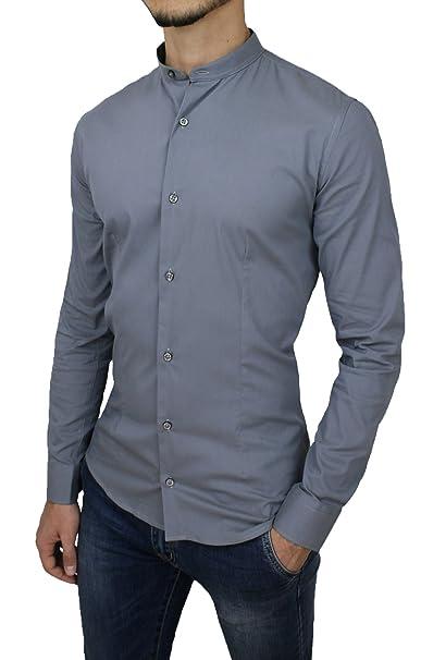 7992deb3a4 Acy Style Camicia Uomo Casual Slim Fit Grigio in Cotone con Colletto alla  Coreana