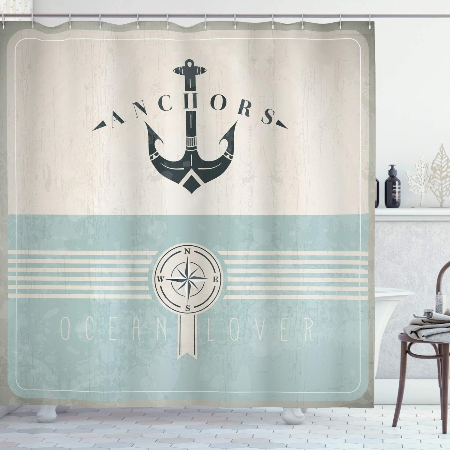 Ambesonne Nautical Shower Curtain, Aged Ocean Lover Phrase with Anchor and Compass Marine Adventure Design, Cloth Fabric Bathroom Decor Set with Hooks, 75