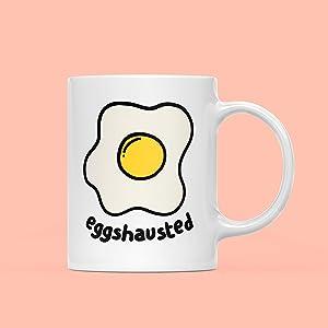 Eggshausted Mug Egg Mug Exhausted Mug Lazy Mug Funny Mug Cute Mug Quirky Mug Work Mug Easter Mug Food Pun Mug Mug Gift