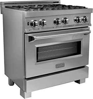 ZLINE 30 in. Professional Dual Fuel Range in Snow Stainless with Snow Stainless Door (RAS-SN-30)