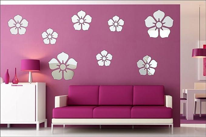 Buy Dakshita New flower Big Medium Small SILVER (pack of 8) 3D ...