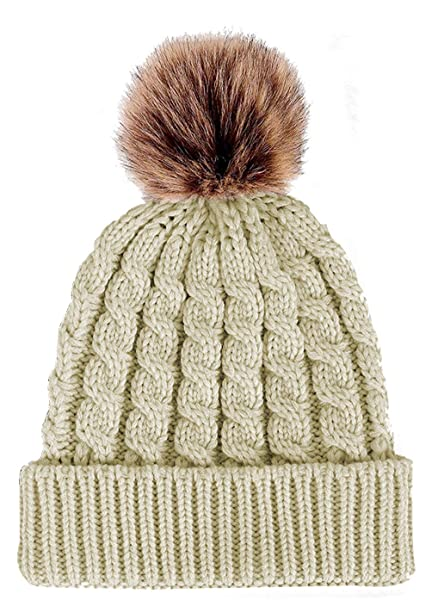 4091c1a0f65fc Aedvoouer Women s Winter Soft Knitted Beanie Hat Faux Fur Pom Pom (Beige)