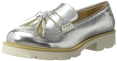 XTI Silver Metallic Ladies Shoes, Mocasines para Mujer: Amazon.es: Zapatos y complementos