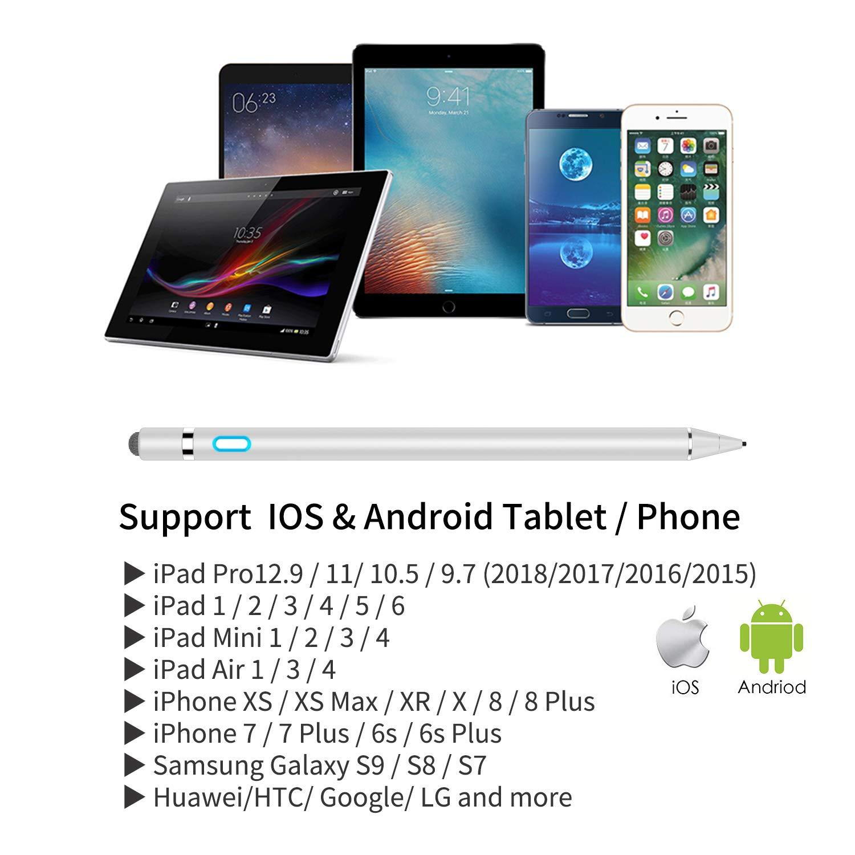 Tapa de Magn/ética L/ápiz Tactil Capacitivo para Apple iPad MPIO Activo Recargable con Punta Fina de 1,5 mm para Dibujar y Escribir en iPad//Samsung iOS y Android Tablet con Estuche de Apple Pen