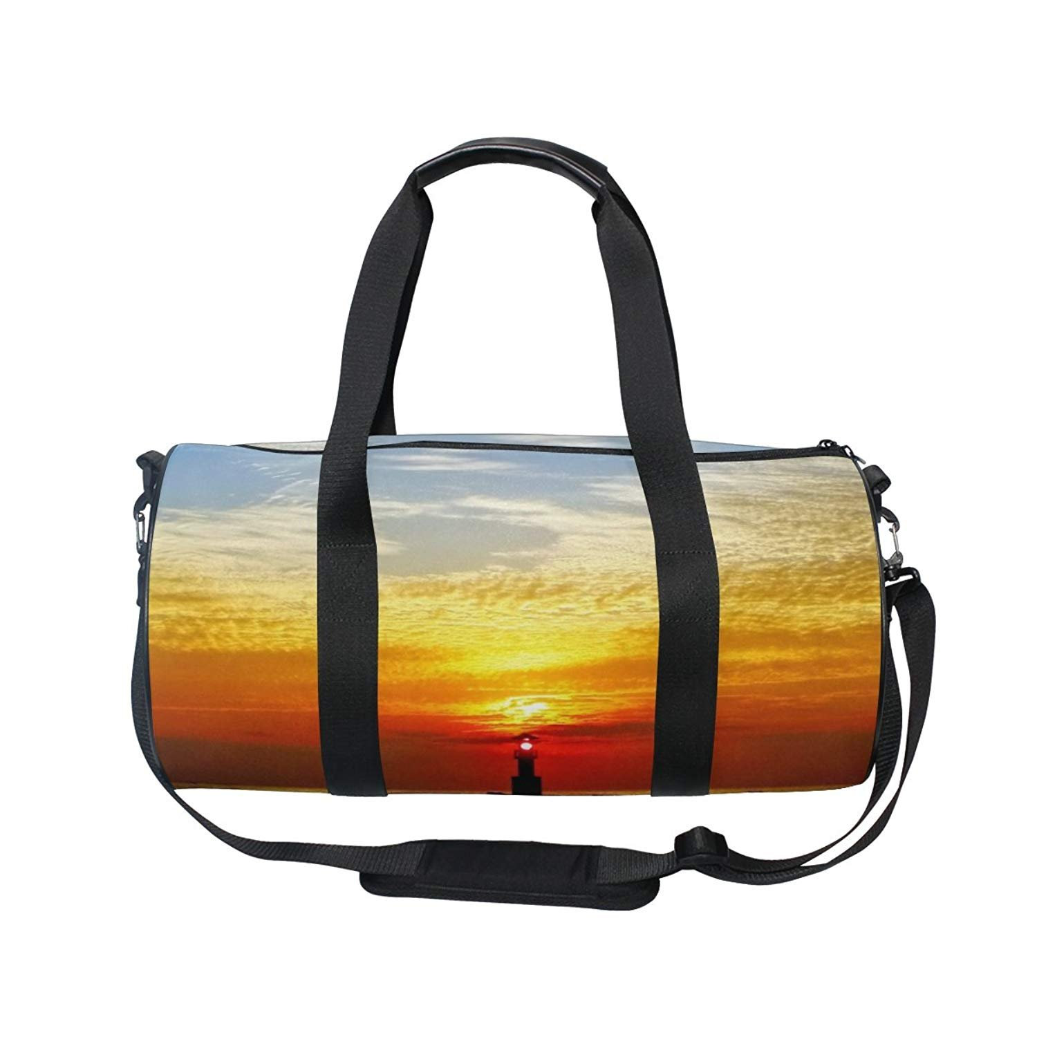 Nature Ocean Sea Sunset Lighthouse Sports Gym Shoulder Handy Duffel Bags