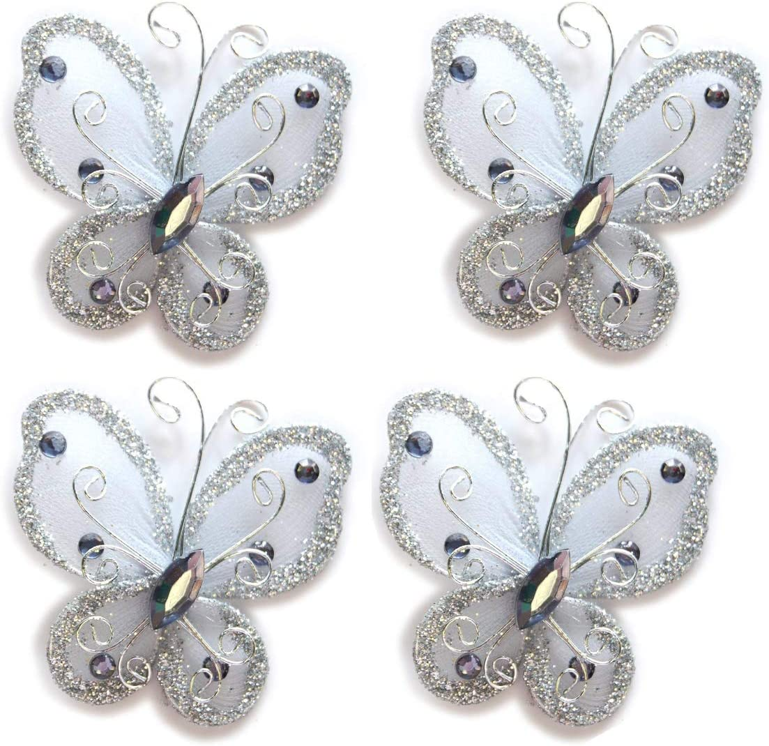 Multicolor 40-Pack Organza Butterflies 2 Fabric Butterflies Nylon Glitter Butterfly for Wedding Party Table Scatter Scrapbook Craft Card Decoration