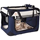 """PetLuv Soothing """"Happy Cat"""" Premium Soft Sided Cat Carrier & Travel Crate w Locking Zippers Comfy Plush Nap Pillow 4X Interior Room Airy Windows Sunroof Reduces Anxiety"""