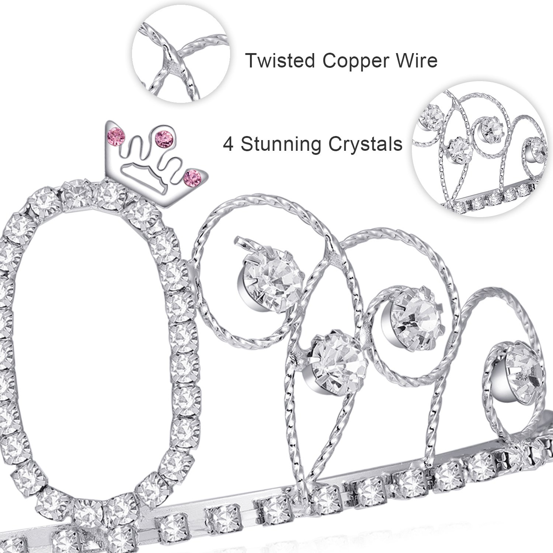 BABEYOND Crystal Tiara Birthday Crown Princess Crown Hair Accessories Silver Diamante Happy 40th Birthday (40 Birth) by BABEYOND (Image #5)