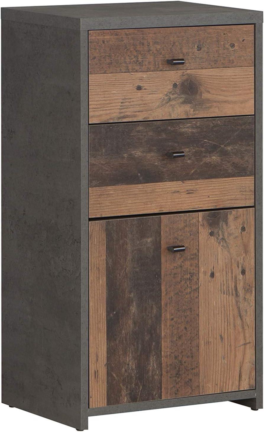 Forte Cómoda con 1 Puerta y 2 cajones en una Moderna combinación de Colores Antiguos, Aspecto de hormigón, Tabla de Madera aglomerada, 40,3 cm x 77,5 cm x 29,6 cm