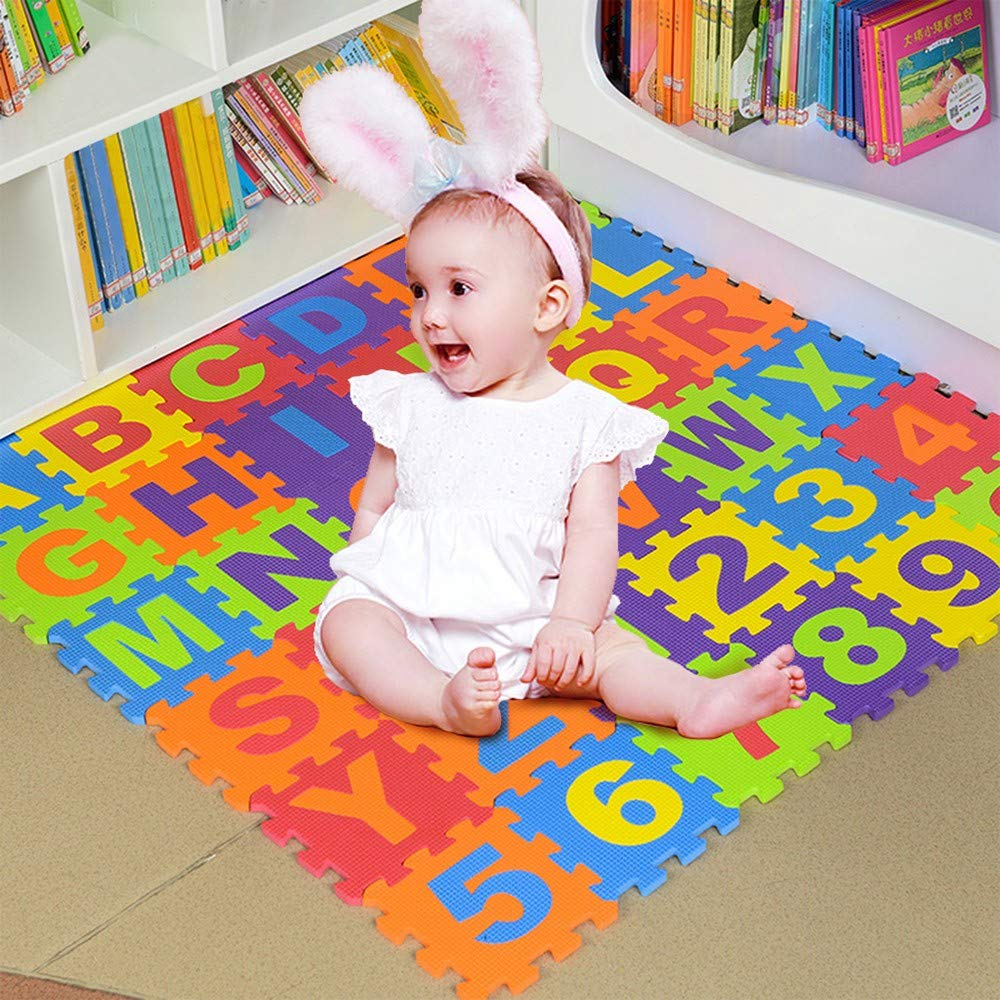 Foam Play Mats for Toddlers ABC Floor Puzzle Non Toxic 36 Tiles 3-6 Years Kids by UOFOCO