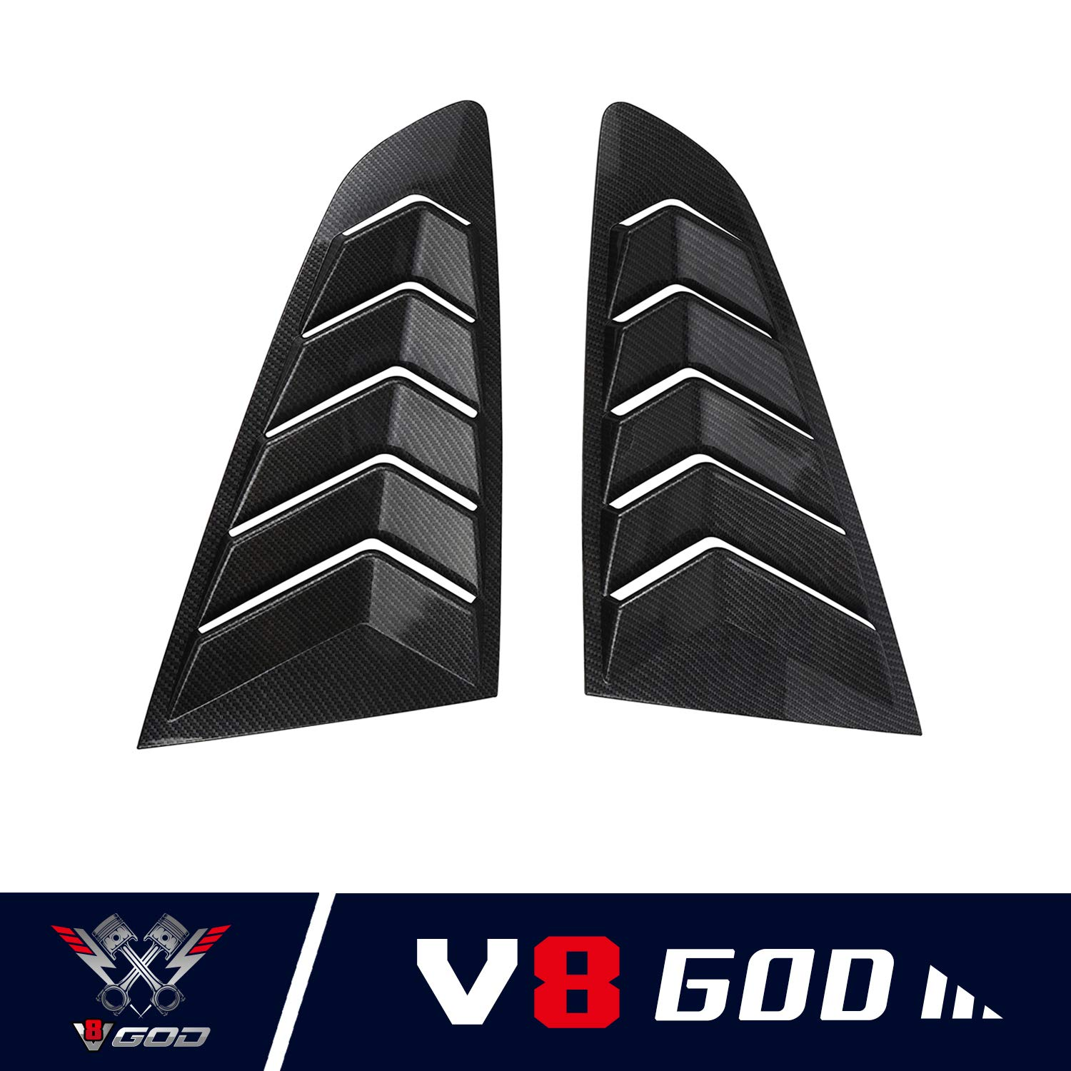 u-Box Ford Mustang Window Louvers Cover Quarter Side Cover in Glossy Black for 2015-2018 Ford Mustang