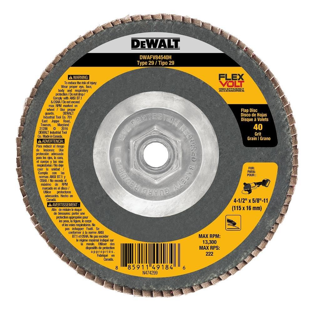 DEWALT DWAFV84540H FLEXVOLT T29 40G Flap Disc, 4-1/2' x 5/8'-11' 4-1/2 x 5/8-11