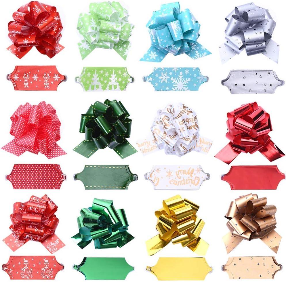 Muro - 24 lazos de cinta para envolver, accesorio de regalo fácil y rápido, lazos, cestas, botellas de vino, decoración para envolver regalos y decoración