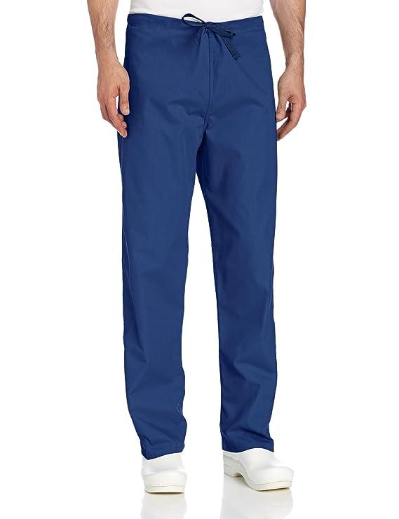 Landau Unisex Reversible Drawstring Scrub Pants, Navy, Medium best men's scrub pants