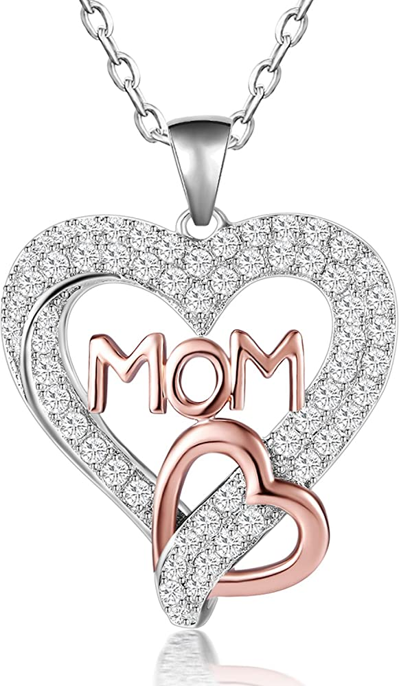 10ac60ee6a2cb8 Caperci Two-Tone Rose Gold Sterling Silver Love MOM Heart Pendant Necklace  for Women,