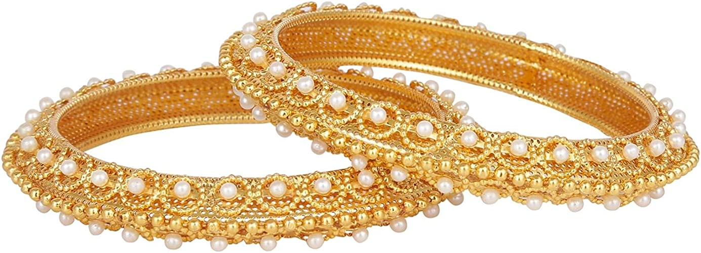 2 Pieces for Women Efulgenz Fashion Jewelry Indian Bollywood 14 K Gold Plated Faux Pearl Bracelets Bangle Set