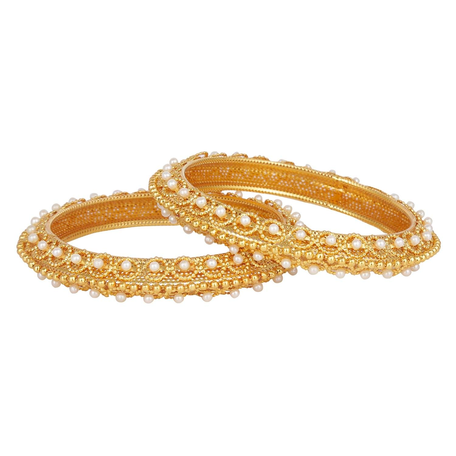 Efulgenz Fashion Jewelry Indian Bollywood 14 K Gold Plated Faux Pearl Beaded Bracelets Bridal Bangle Set (2 Pieces) for Women