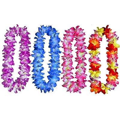 4pcs Hawaiian Leis Hula Dance Garland Artificial Flowers Neck Loop(4 Colors,Thickened)
