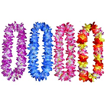 Amazon huanx35 hawaiian ruffled simulated silk flower hula huanx35 hawaiian ruffled simulated silk flower hula party leis necklaces pack of 4 mightylinksfo Image collections