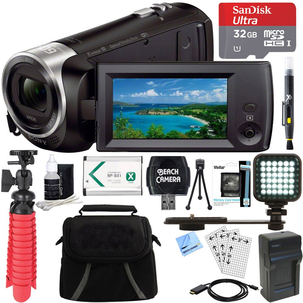 Sony HDR-CX440 Full HD 60p Camcorder + 32GB MicroSDHC Memory Card + NP-BX1 Battery Pack + Accessory Bundle by Sony