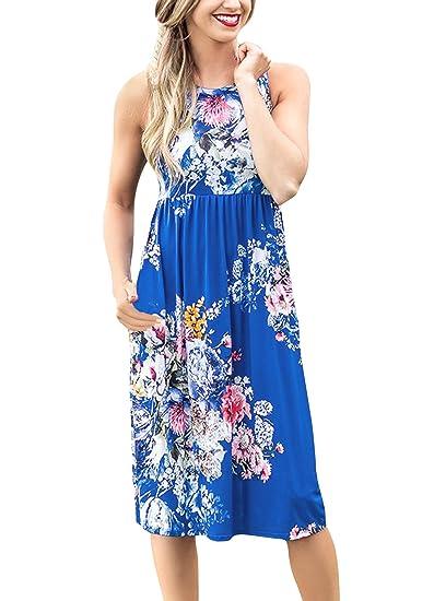 02a8e9e31fe Yidarton Women Summer Round Neck High Waist Floral Printed Beach Midi Dress  (Blue