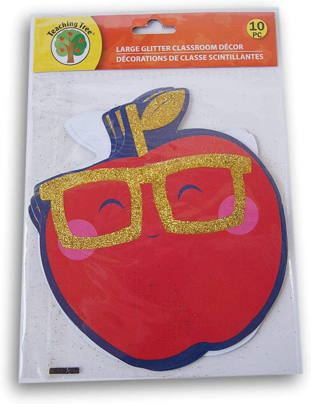 Smiling Glitter Apple Classroom Decor Embossed Paper Cut-Outs - 10 Count