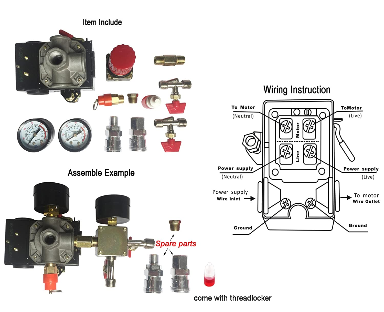 Secbolt 90-120PSI Air Compressor Pressure Control Switch with Pressure on