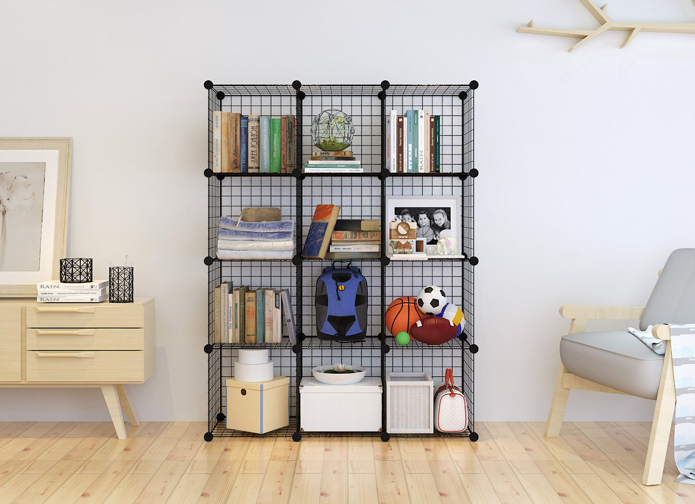 Tespo Metal Wire Storage Cubes Modular Shelving Grids DIY Closet  Organization System Bookcase Cabinet (12   Regular ...