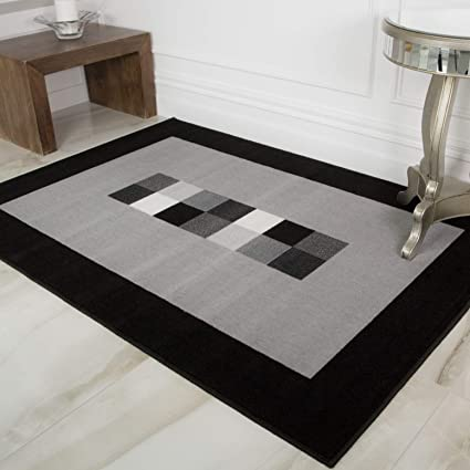 Milan Soft Simple Modern Black Grey Monochrome Living Room Dining Room Border Area Rug 80cm X 150cm Amazon Co Uk Kitchen Home