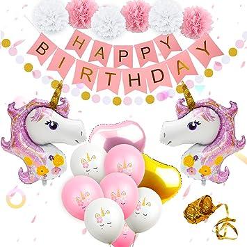 Décorations De Fête Danniversaire De Licorne Ballons Kit De Fournitures De Fête Danniversaire De Licorne Inclus Une Bannière Joyeux