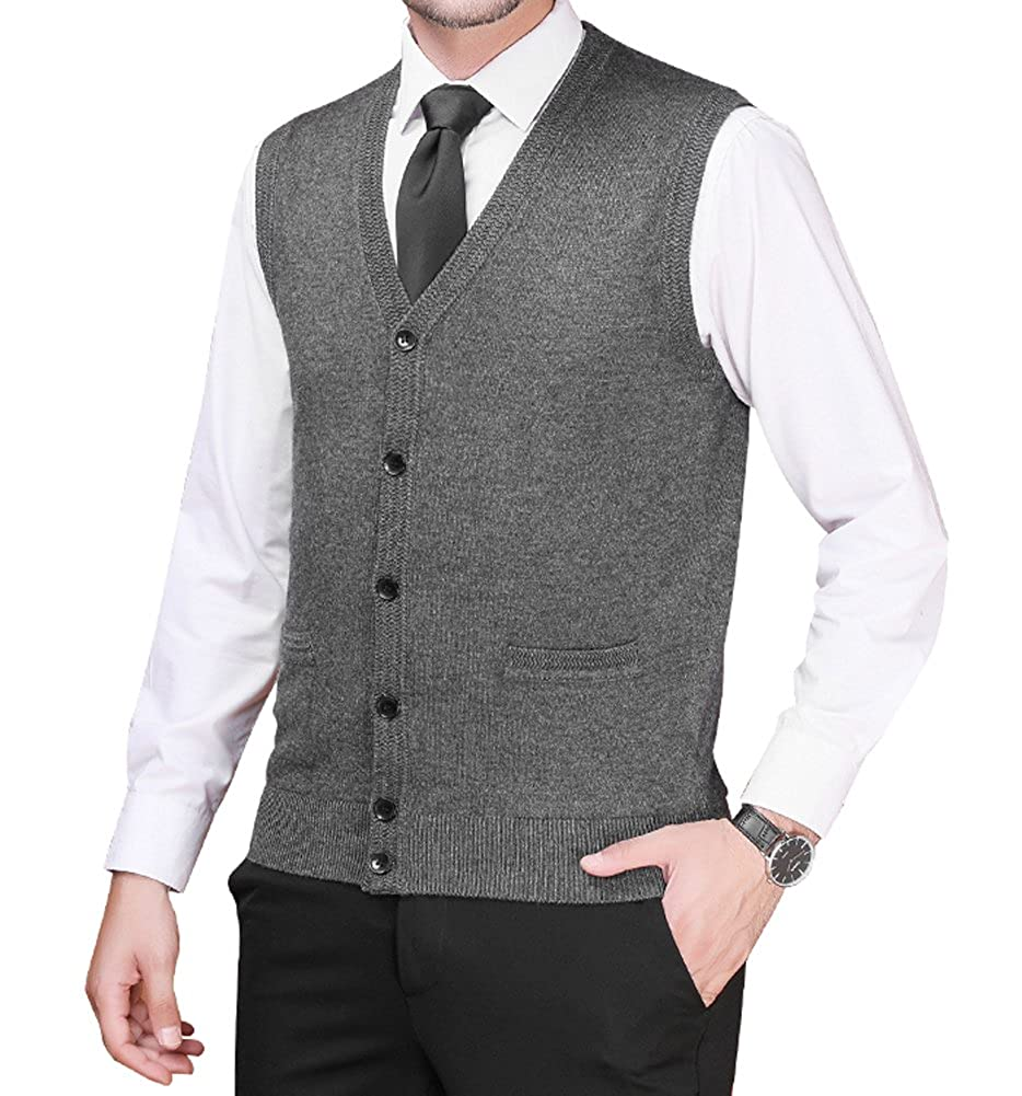 Zicac Mens Business Solid Button Knitwear Sweater Vest Sleeveless Knitted Waistcoat