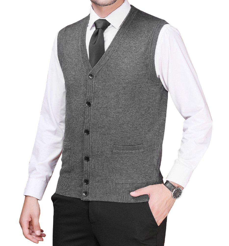 Zicac Men's Business Solid Button Knitwear Sweater Vest Sleeveless Knitted Waistcoat (XL, Dark Gray#2)