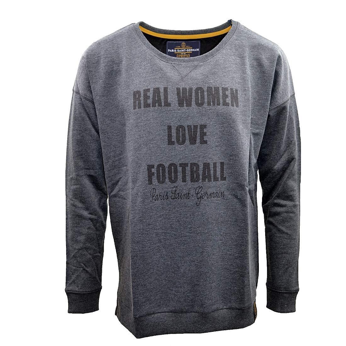 Gris. Sweat PSG Vintage Women Love Football Licence Officielle