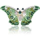 Ever Faith cristalli Swarovski Farfalla Art Deco spilla - viola-Argento-ton A05064-5