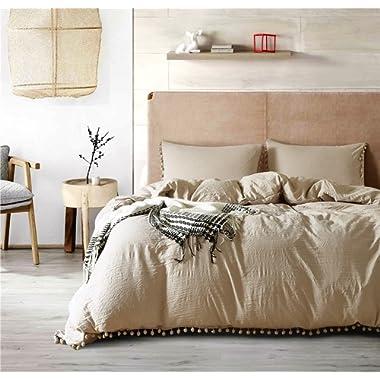 Joyful Store Solid Color Duvet Cover Set Hanging Pompoms Ball Bedding Set Pom-Fringe Design Quilt Cover with Pillow Case Shams (Khaki, King:3pcs/set)